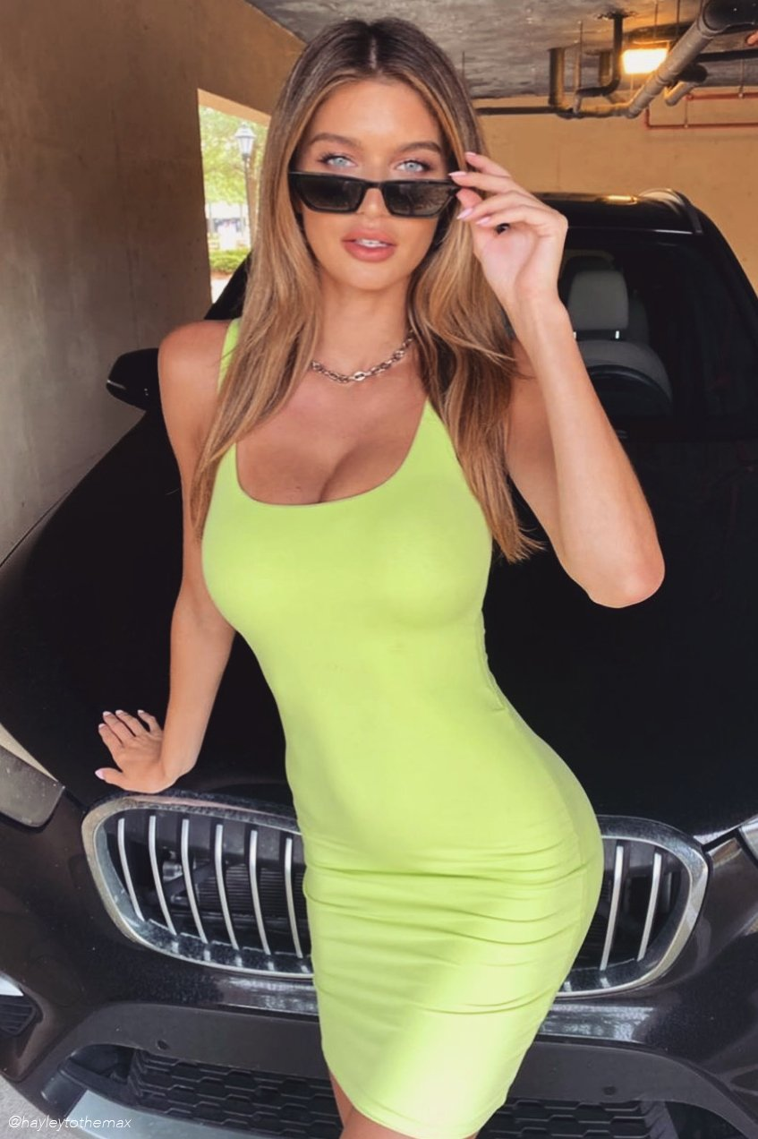 Estelle Thick Strap Square Neck Mini Dress - Lime Green - MESHKI