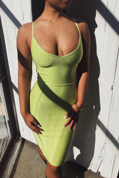 Nicole Strappy Bandage Mini Dress - Lime Green