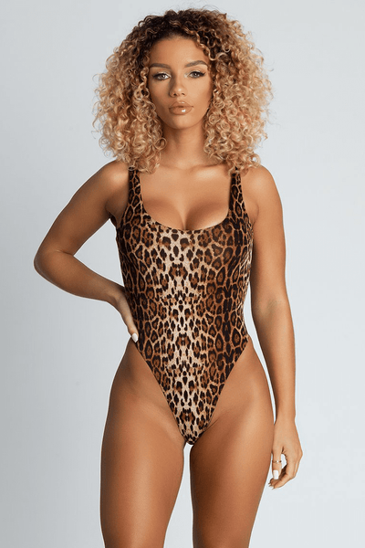 Abby Scoop Back One Piece Swimsuit - Leopard