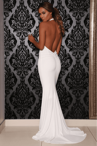 Coco Backless High Neck Gown- White - MESHKI