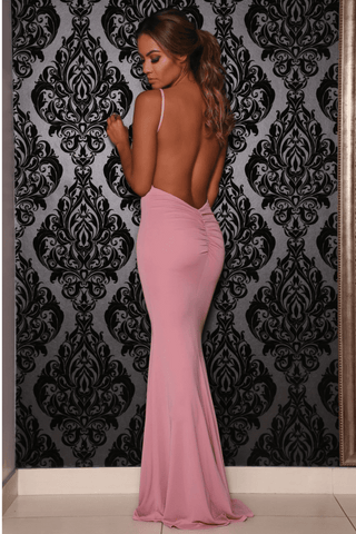Celine Backless Maxi Dress - Blush Pink - MESHKI