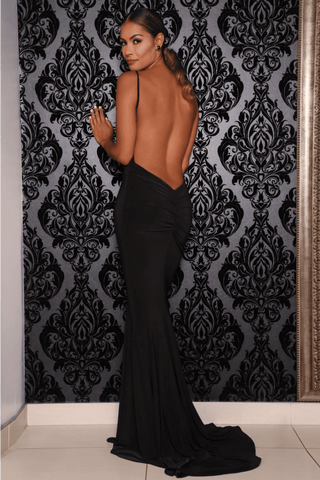 Chile Backless Gown - Black - MESHKI