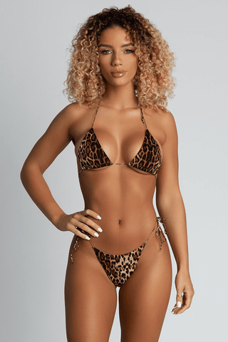 fb11cc9d42 Amalia Tie Up Bikini Top - Leopard - MESHKI Quick Shop