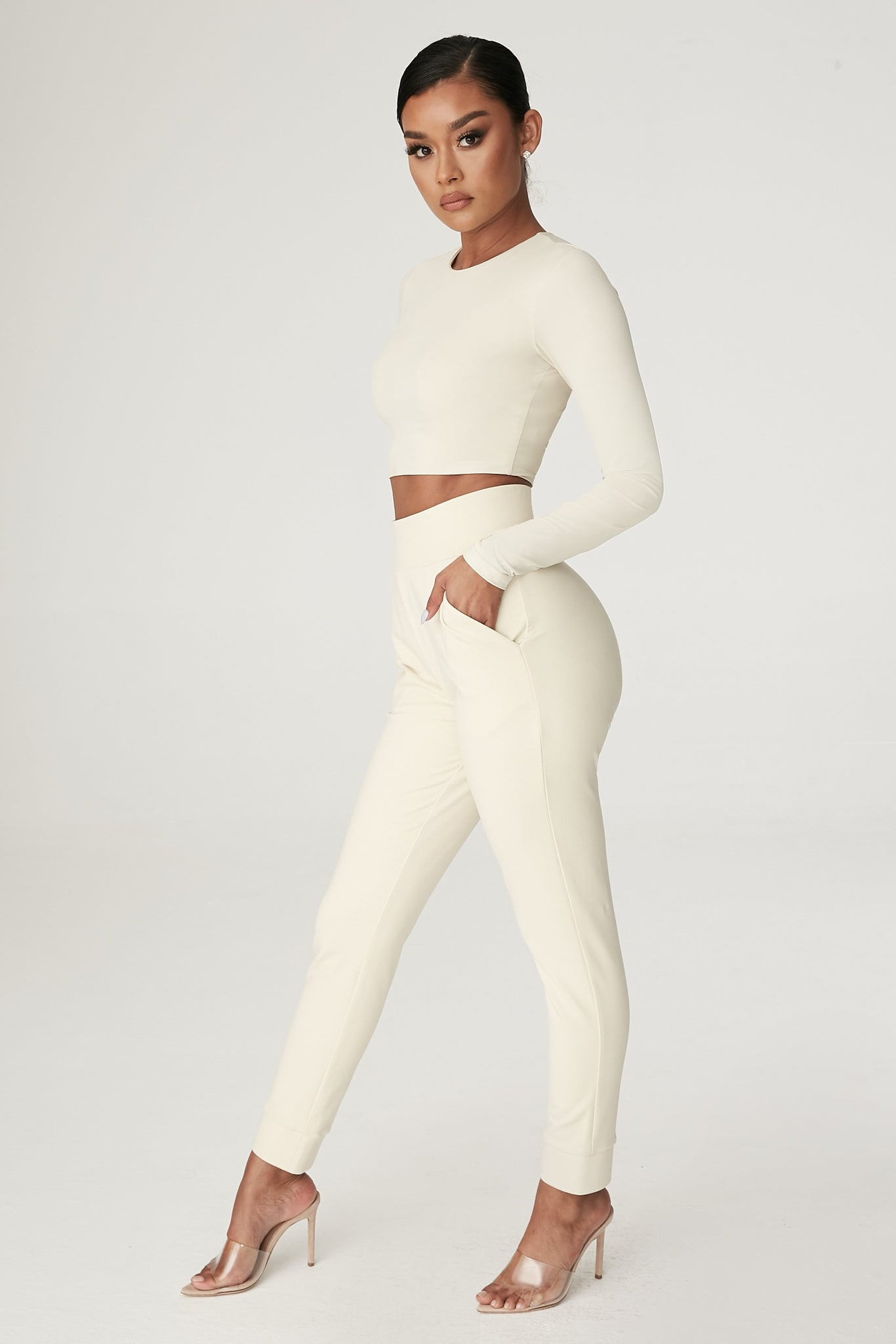 Amelia Fitted High Waisted Joggers - Sand - MESHKI
