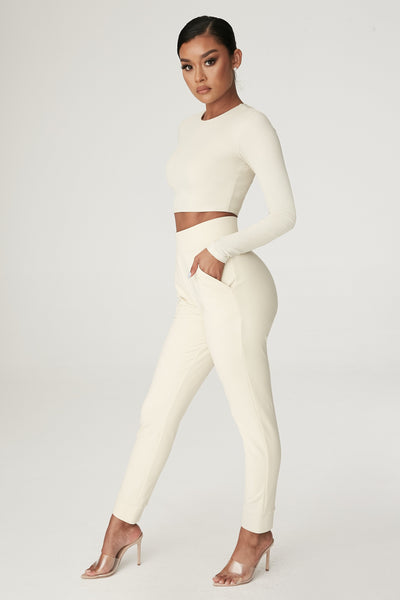 Amelia Fitted High Waisted Joggers - Sand