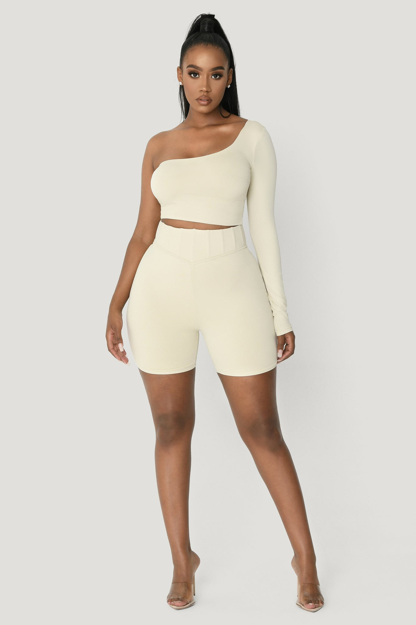 Amirah One Shoulder Crop Top - Sand - MESHKI