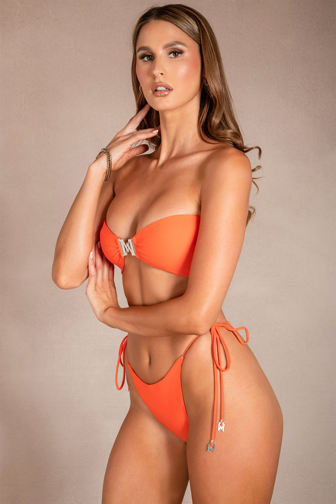 Carla Bandeau Reversible Bikini Top - Orange