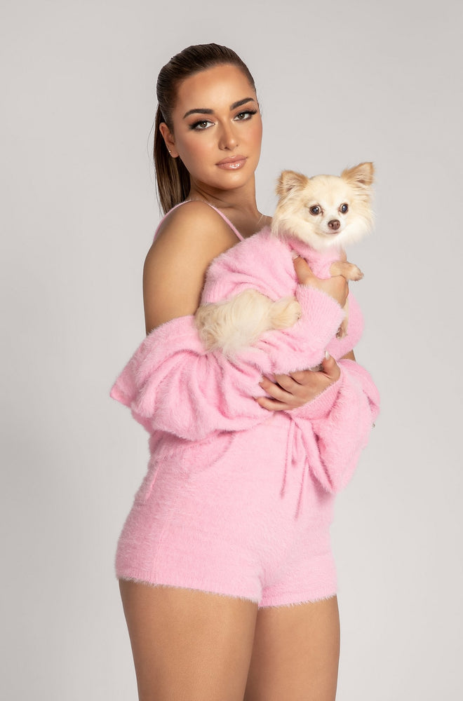 Stellie Fluffy Roll Neck Dog Jumper - Pink - MESHKI