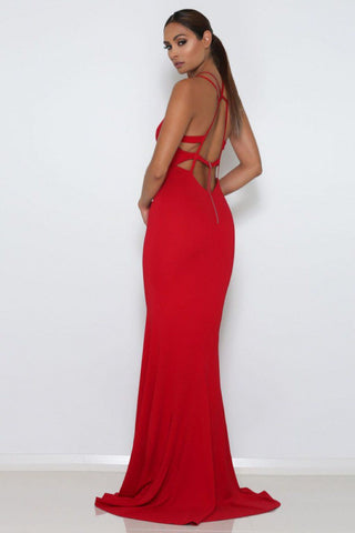 Troy Strappy Gown - Red - MESHKI