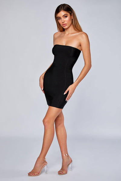 Adoria Strapless Bandage Dress - Black - MESHKI