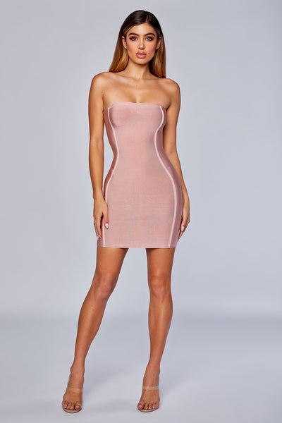 Adoria Strapless Bandage Dress - Blush - MESHKI