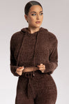 Azure Chenille Cropped Hoodie - Chocolate