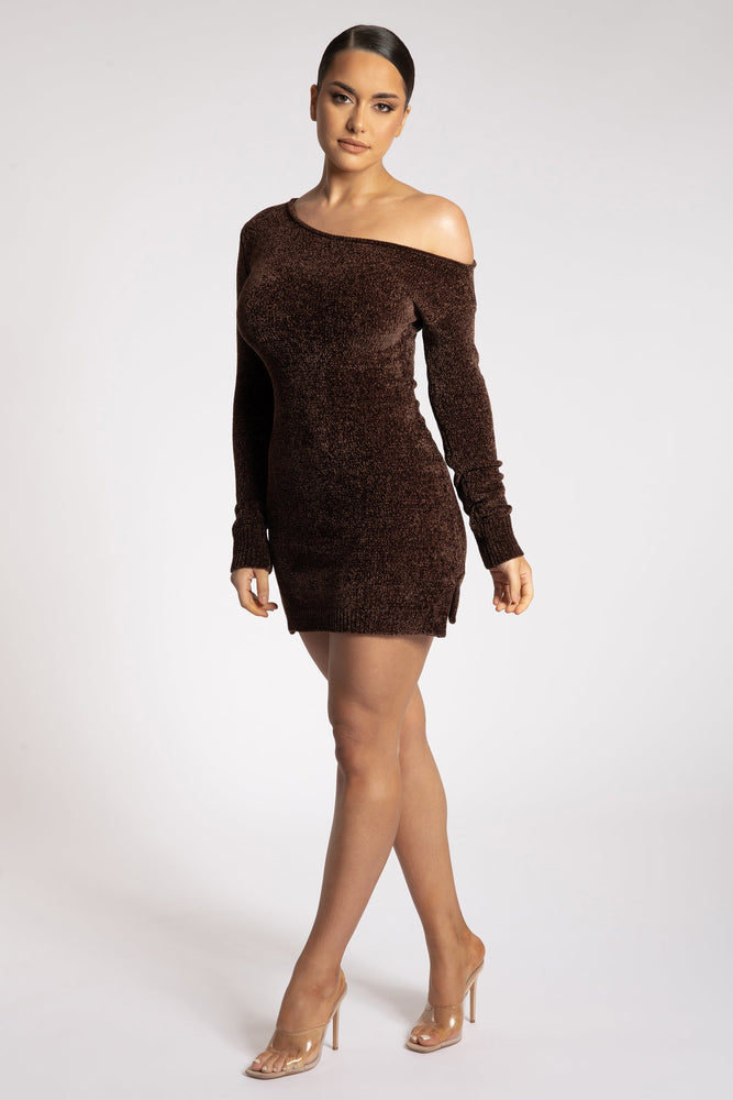 Alegra Chenille Off The Shoulder Dress - Chocolate - MESHKI