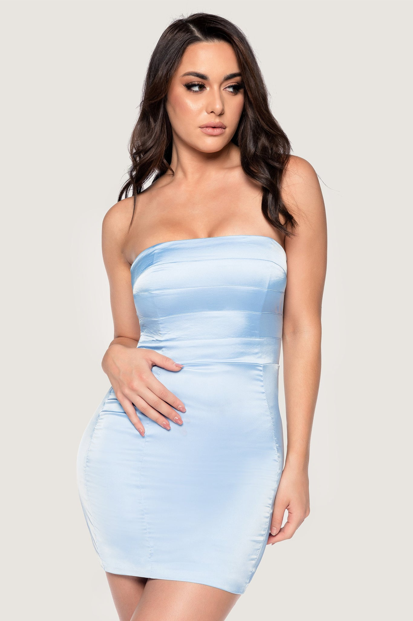 Alline Strapless Satin Mini Dress - Dusty Blue - MESHKI