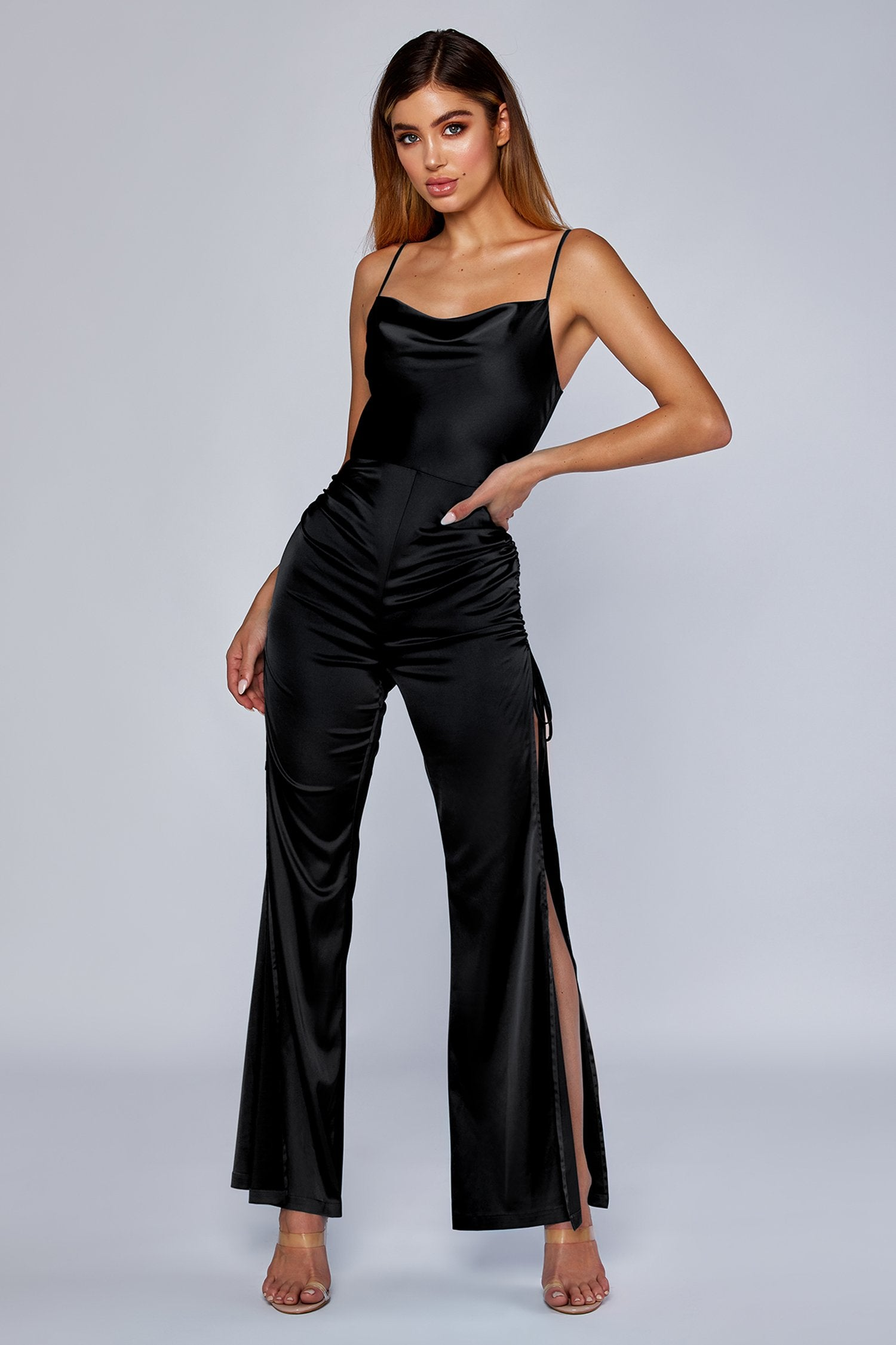 5f9ae9e11189 Allie Ruched Side Jumpsuit - Black - MESHKI