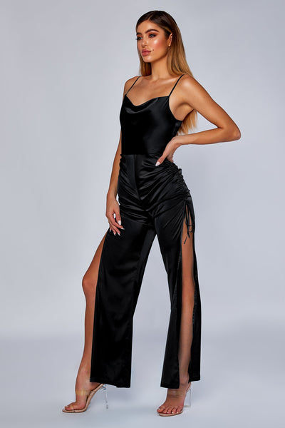 Allie Ruched Side Jumpsuit - Black - MESHKI