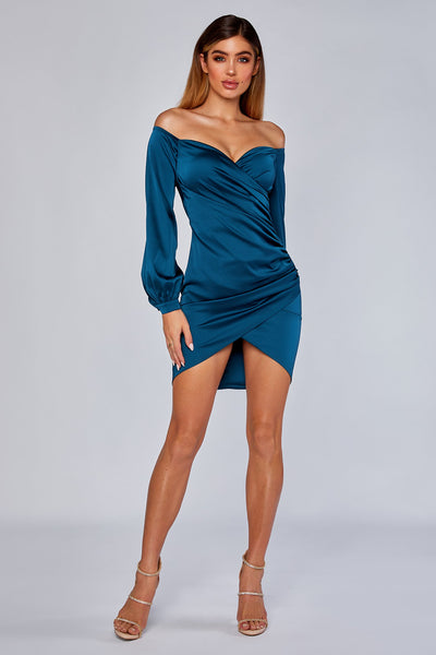 Alysa Long Sleeve Wrap Dress - Teal - MESHKI