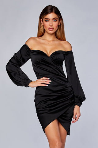 Alysa Long Sleeve Wrap Dress - Black - MESHKI