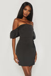 Amberley Puff Sleeve Mini Dress - Black