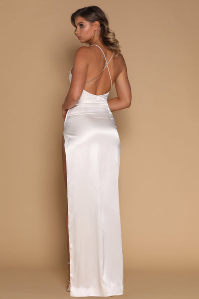 Amina Satin Maxi Dress - Ivory - MESHKI