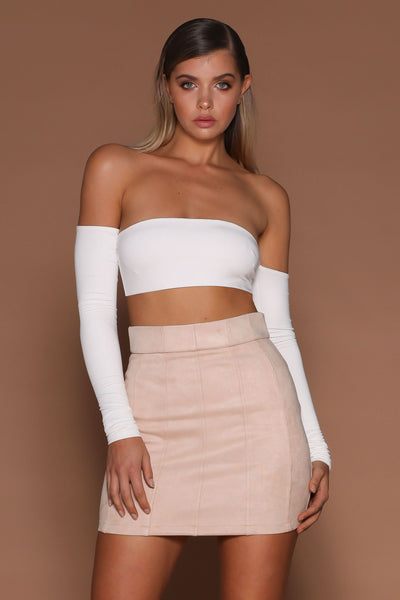 Anna Off-Shoulder Crop Top - White - MESHKI