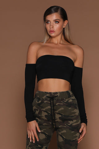Anna Off-Shoulder Crop Top - Black - MESHKI