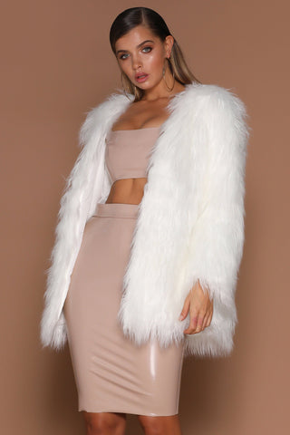 Arabella Faux Fur Jacket - White - MESHKI