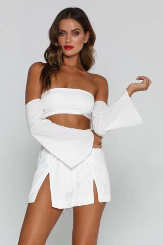 Malika Long Sleeve Crop Top - White - MESHKI