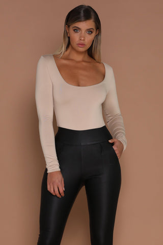 Koko Long Sleeve Bodysuit - Nude - MESHKI