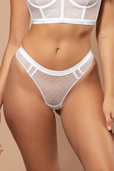 Monique Spot Mesh Brazilian Briefs - White - MESHKI