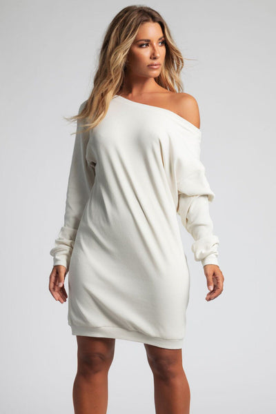 Jolean Wide Neck Ribbed Longline Sweater - Cream - MESHKI