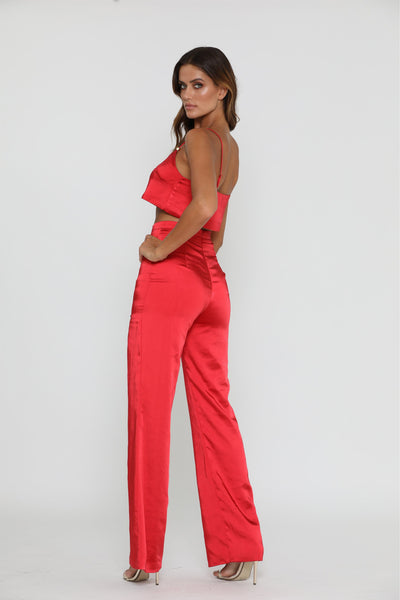 Tala Satin Pants - Red - MESHKI