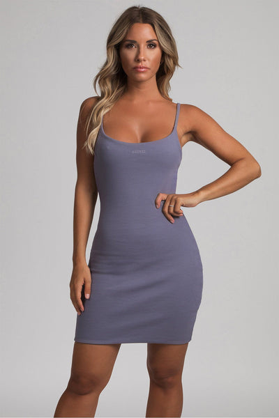 Leah Strappy Ribbed Bodycon Mini Dress - Grey
