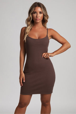 Leah Strappy Ribbed Bodycon Mini Dress - Chocolate - MESHKI