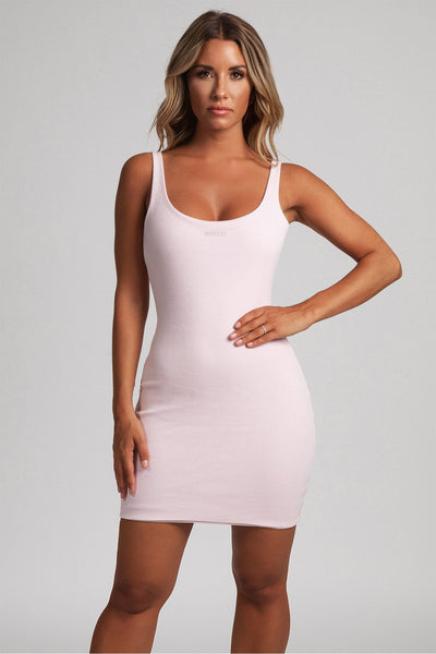 Danica Ribbed Body-con Mini Dress - Baby Pink