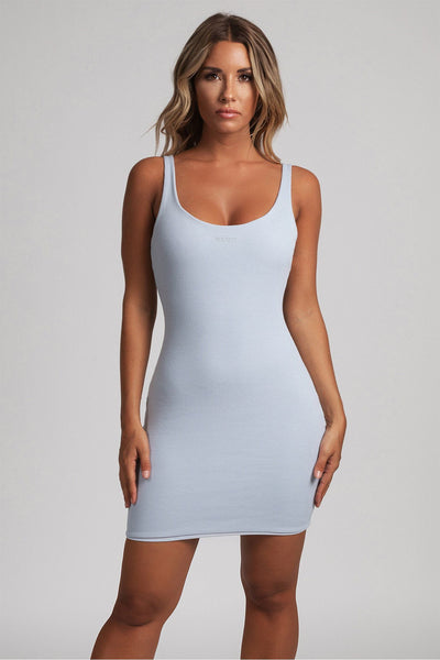 Danica Ribbed Body-con Mini Dress - Baby Blue - MESHKI