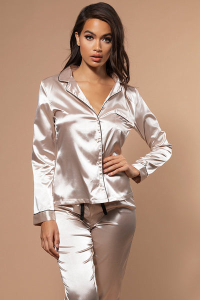 Abigail Satin Long Sleeve Pyjama Top - Champagne - MESHKI