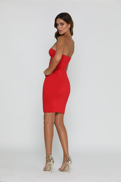 Karina Strapless Midi Dress - Red - MESHKI
