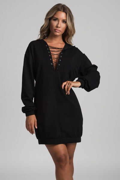 Elsa Lace Up Hooded Mini Dress - Black - MESHKI