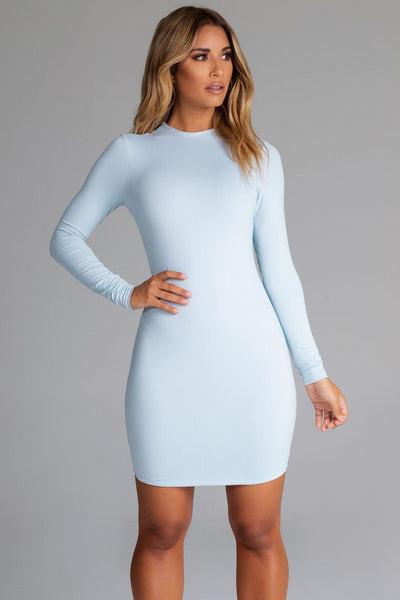 Kylie Long Sleeve Mini Dress - Baby Blue - MESHKI