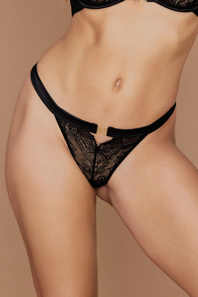 Stevie Lace V-String - Black - MESHKI