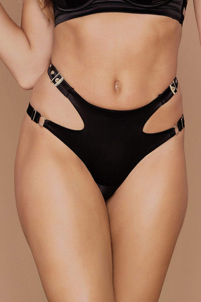 Alison Satin Buckle Brazilian Briefs - Black - MESHKI