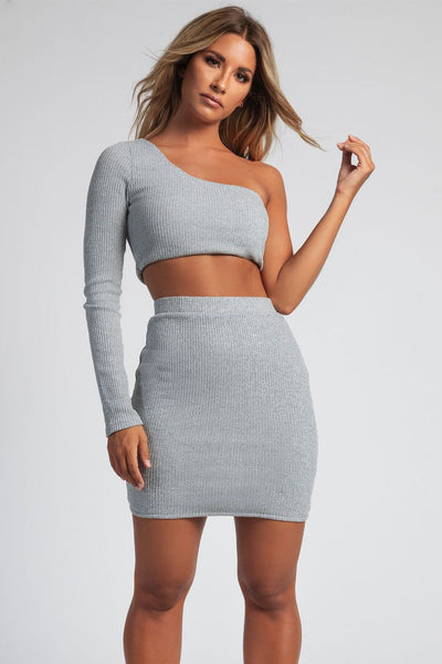 Desma One Shoulder Rib Knit Crop Top - Grey - MESHKI