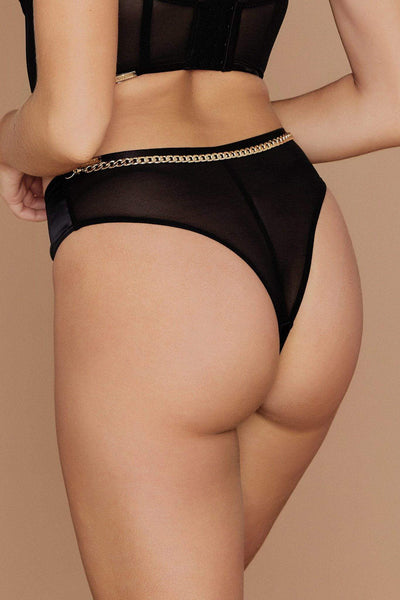 Talisa Chain Strap Brazilian Briefs - Black - MESHKI