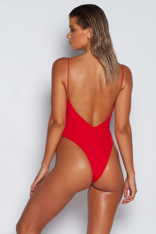 Summer Thin Strap One Piece - Red - MESHKI