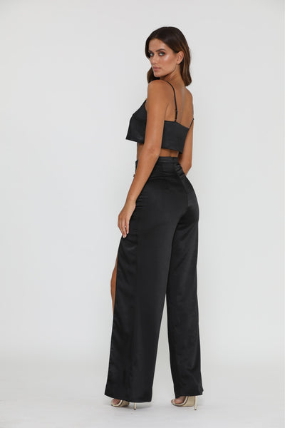 Tala Satin Pants - Black - MESHKI