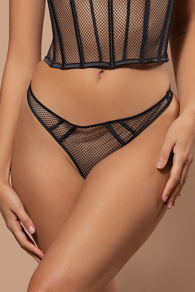 Yazmin Mesh & Satin High Waist Brazilian Briefs - Black - MESHKI