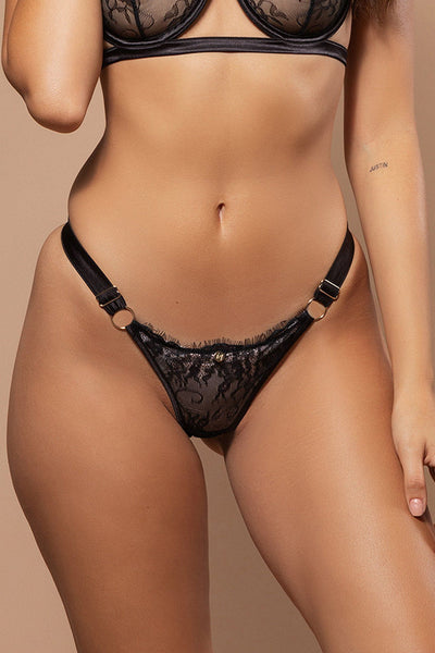 Vanessa Lace & Satin Thong - Black - MESHKI