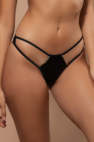 Octavia Chain Thong - Black - MESHKI