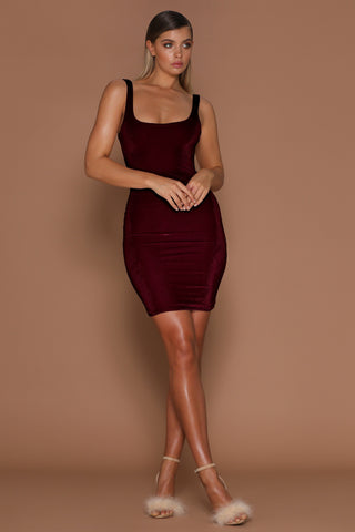 Aylina Velvet Bodycon Mini Dress - Burgundy - MESHKI